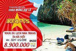 Tour Du Lịch Hà Nội - Nha Trang - Vinpearl Land 4 Ngày 3 Đêm. Khởi hành 30/04/2016 - Bao vé máy bay khứ hồi.