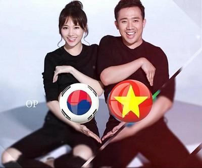 Gia đình Hàn – Việt: Trấn Thành với Hari Won chia phe cổ vũ bán kết ASIAD 2018